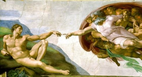 Michaelangelo's Creation of Adam that depicts, God as man, man as God